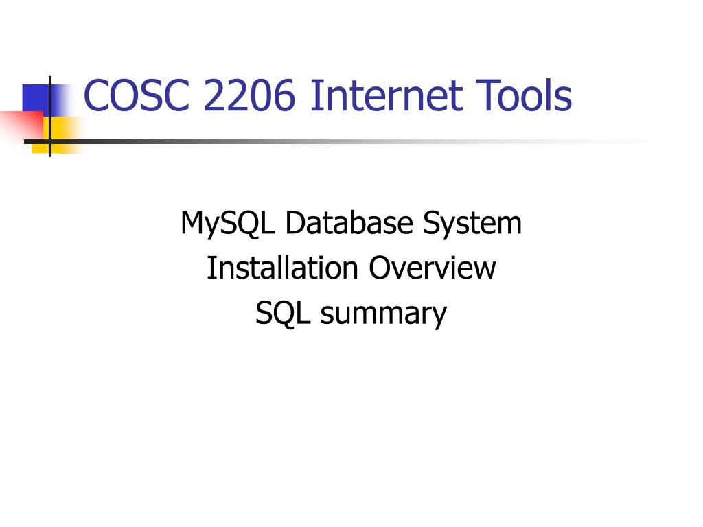 cosc 2206 internet tools l.
