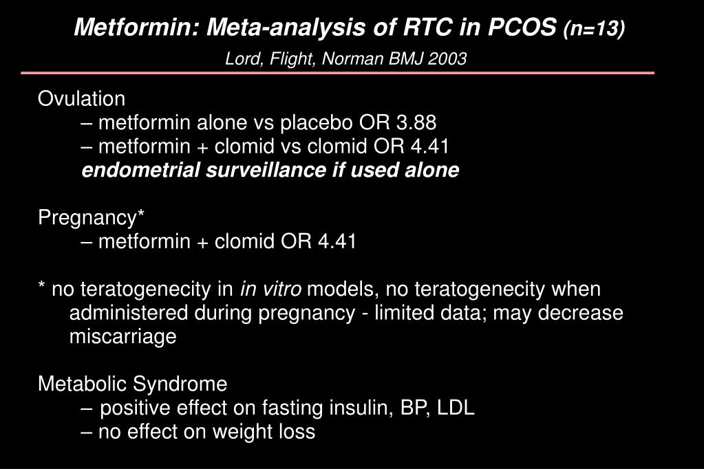 Metformin: Meta-analysis of RTC in PCOS