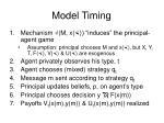 model timing