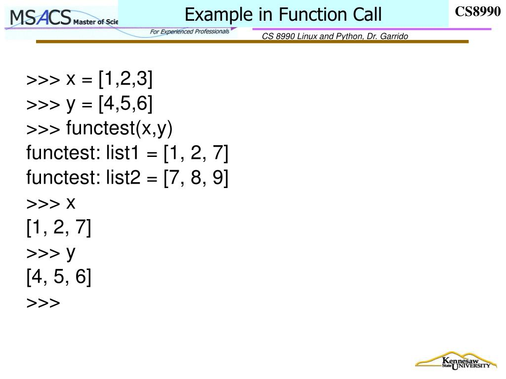 Example in Function Call