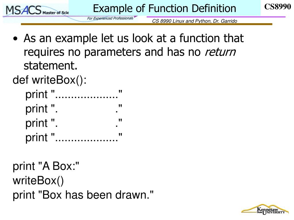 Example of Function Definition