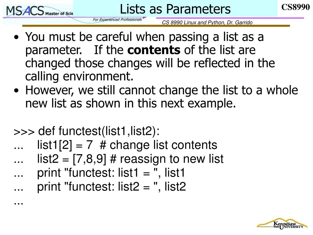 Lists as Parameters