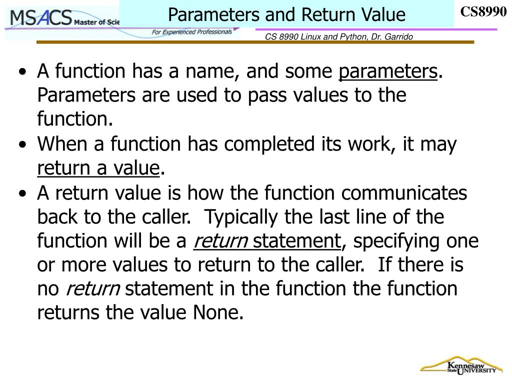 Parameters and Return Value