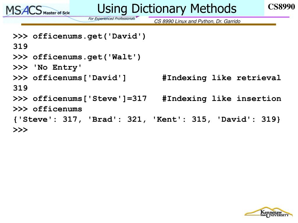 Using Dictionary Methods