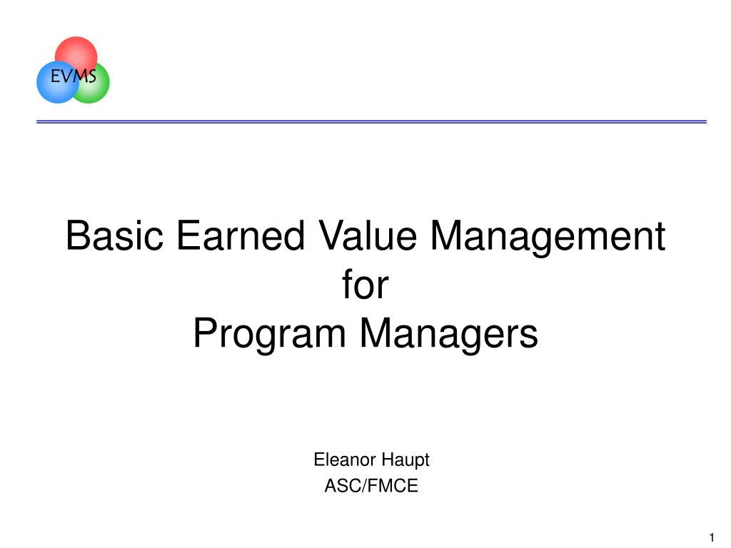 basic earned value management for program managers l.