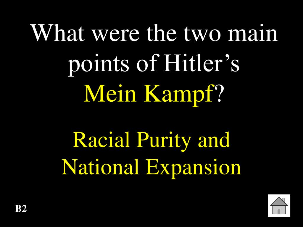 What were the two main points of Hitler's