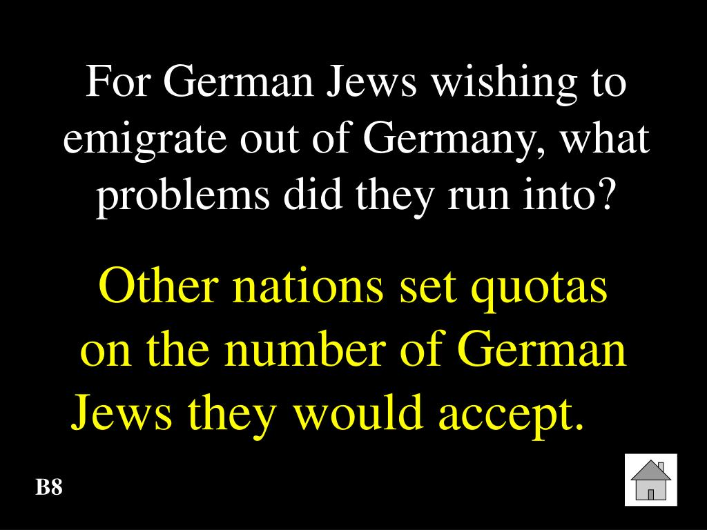 For German Jews wishing to emigrate out of Germany, what problems did they run into?