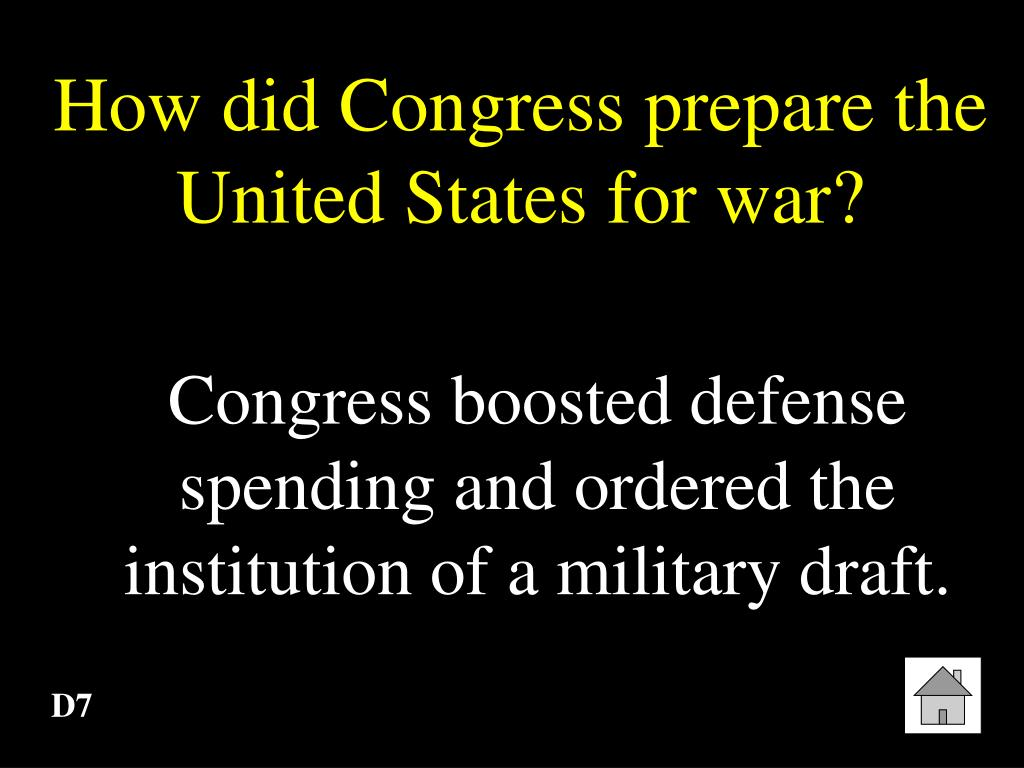 How did Congress prepare the United States for war?