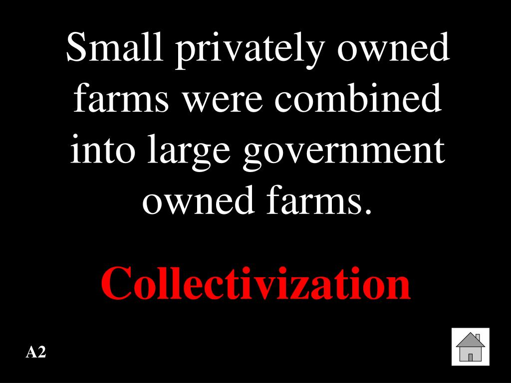 Small privately owned farms were combined into large government owned farms.