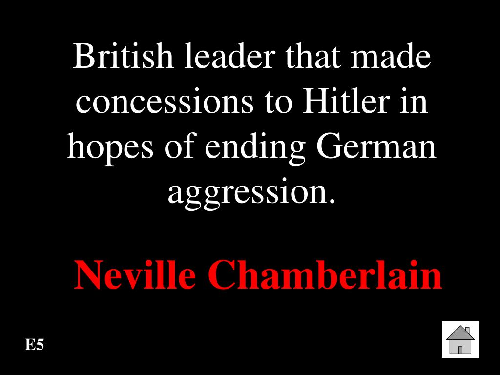British leader that made concessions to Hitler in hopes of ending German aggression.