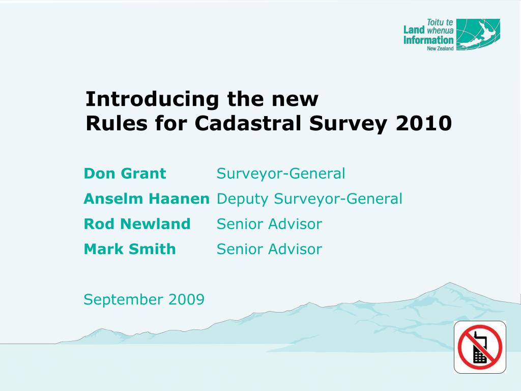 introducing the new rules for cadastral survey 2010 l.