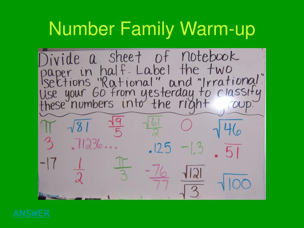 Number Family Warm-up
