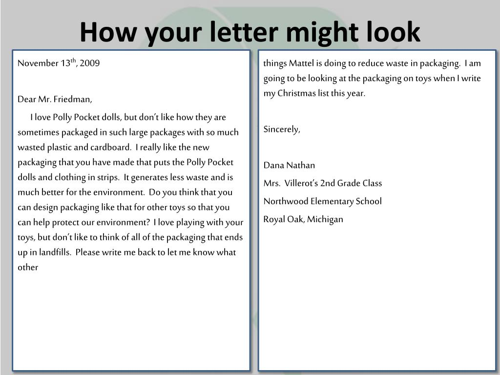 How your letter might look