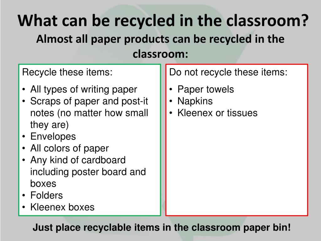 What can be recycled in the classroom?