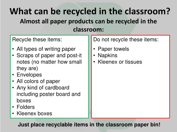 What can be recycled in the classroom