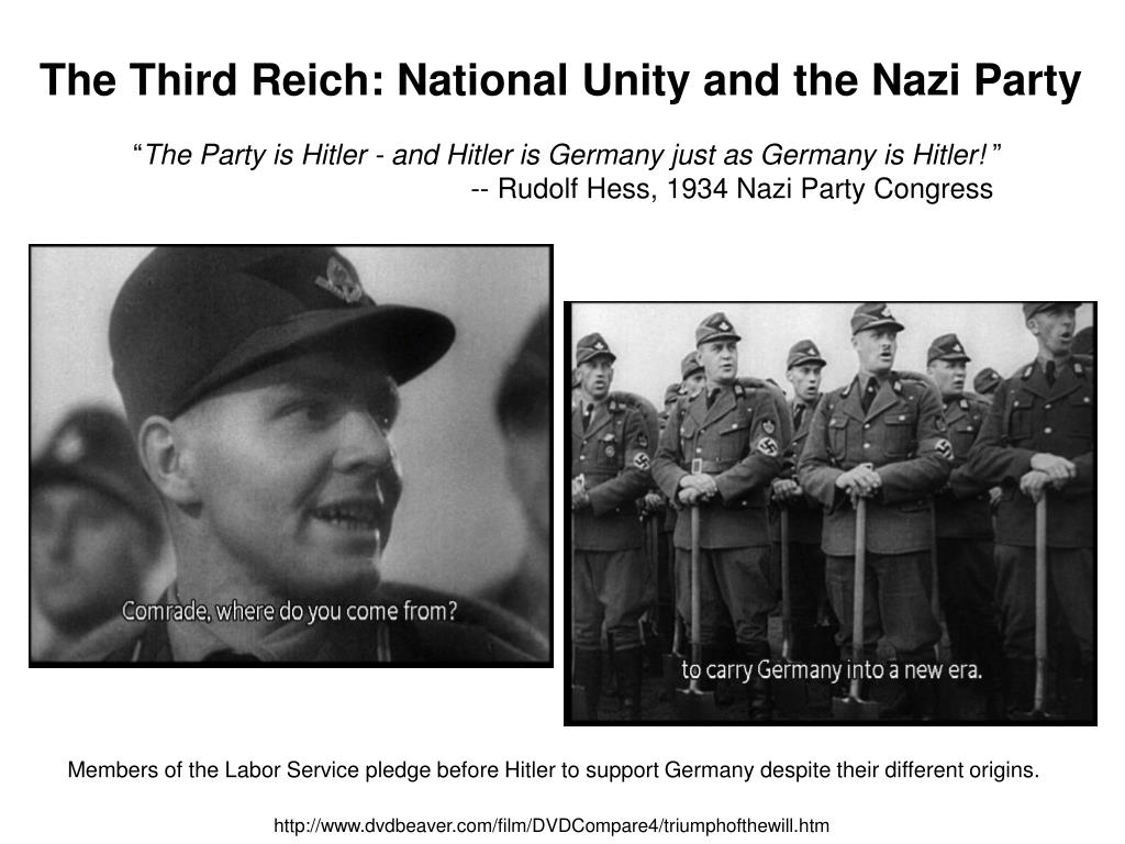 The Third Reich: National Unity and the Nazi Party