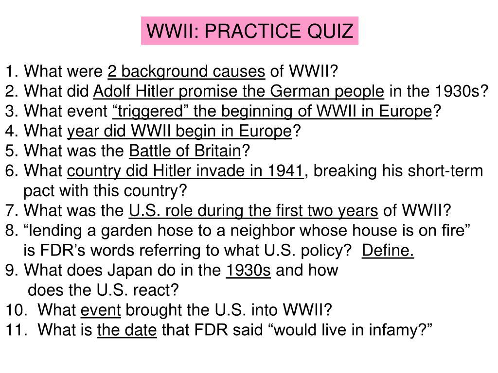 WWII: PRACTICE QUIZ