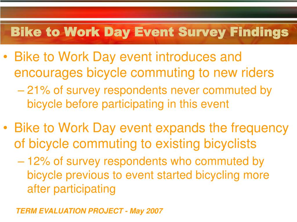 Bike to Work Day Event Survey Findings