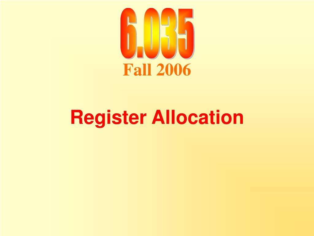 register allocation l.