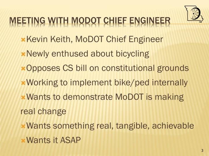 Meeting with modot chief engineer