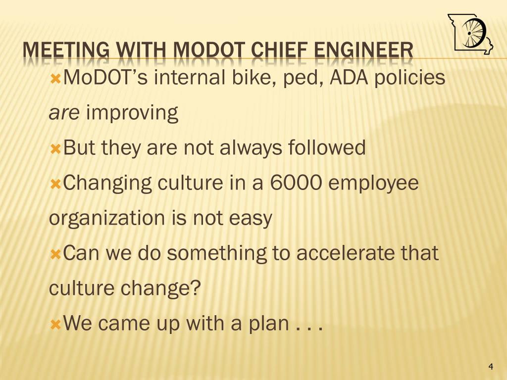 MoDOT's internal bike, ped, ADA policies