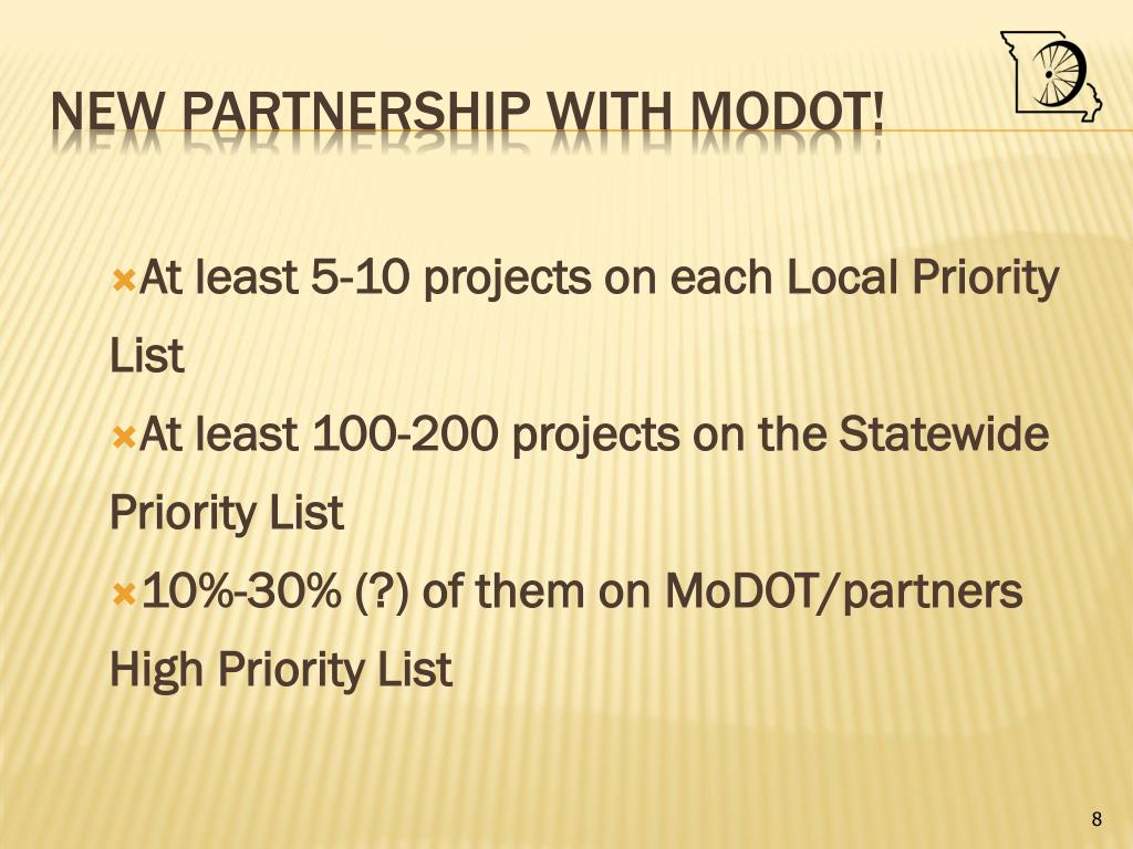 At least 5-10 projects on each Local Priority List