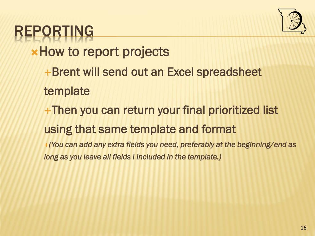 How to report projects