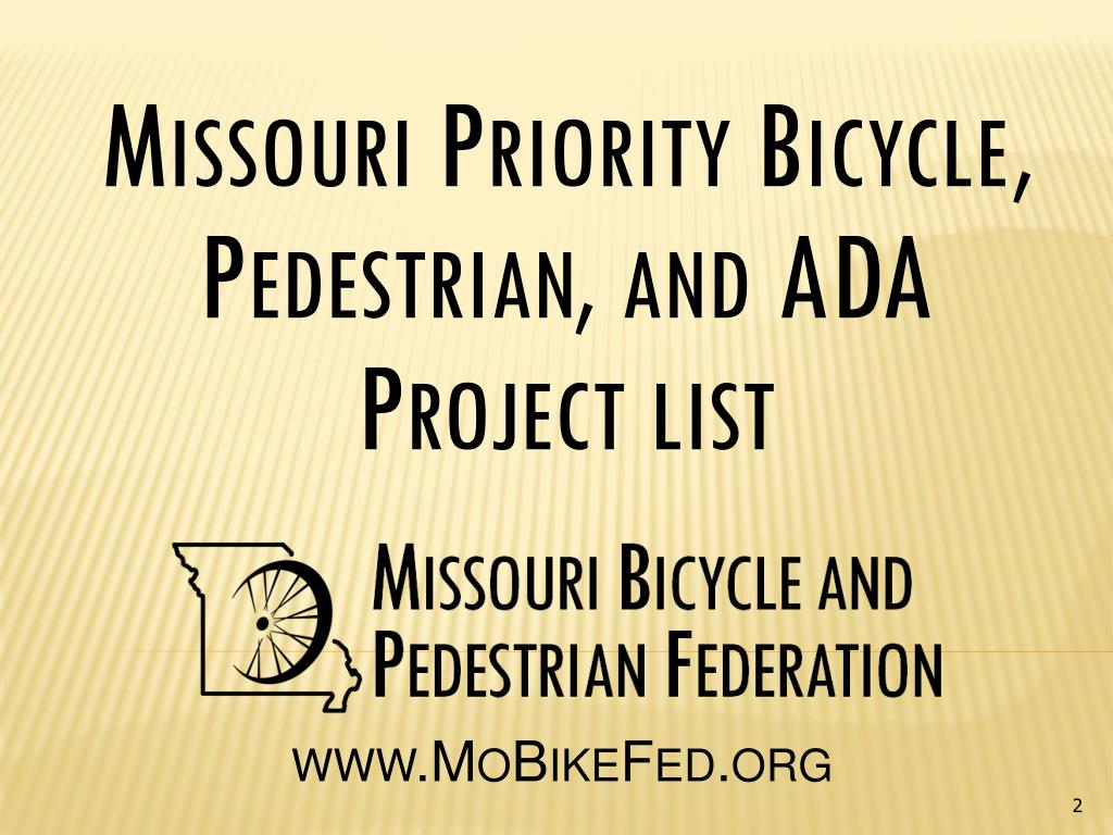 Missouri Priority Bicycle, Pedestrian, and ADA Project list
