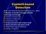 content based detection