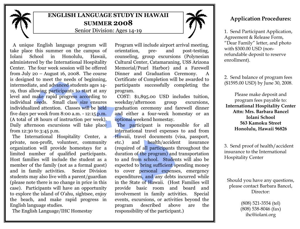 english language study in hawaii summer 2008 senior division ages 14 19 l.