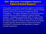 k24 midcareer investigator award in patient oriented research