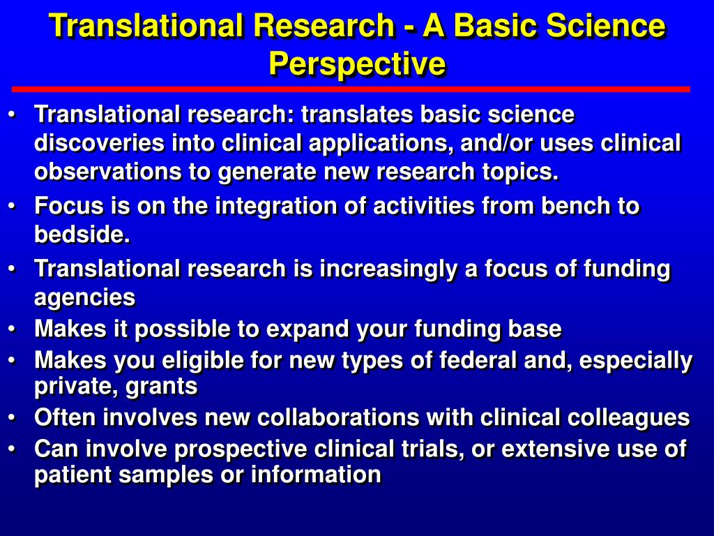 translational research a basic science perspective l.