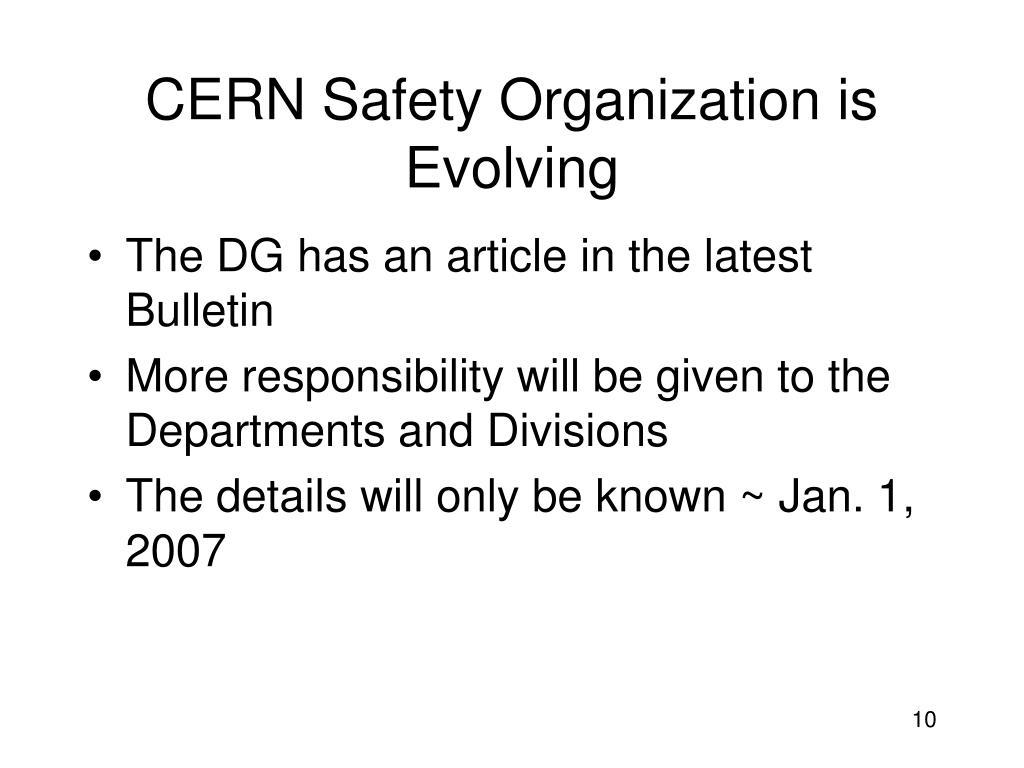 CERN Safety Organization is Evolving