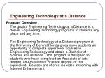 engineering technology at a distance