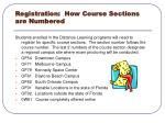 registration how course sections are numbered