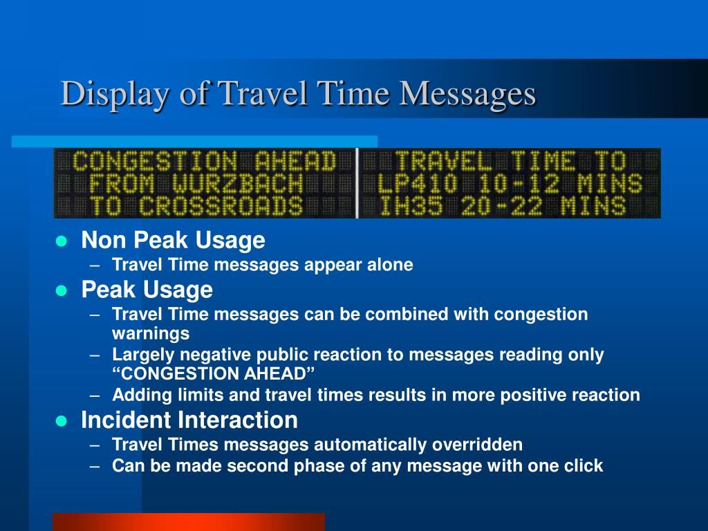 Display of Travel Time Messages