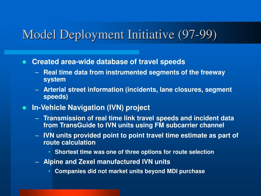 Model Deployment Initiative (97-99)