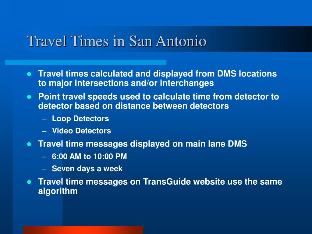 Travel Times in San Antonio
