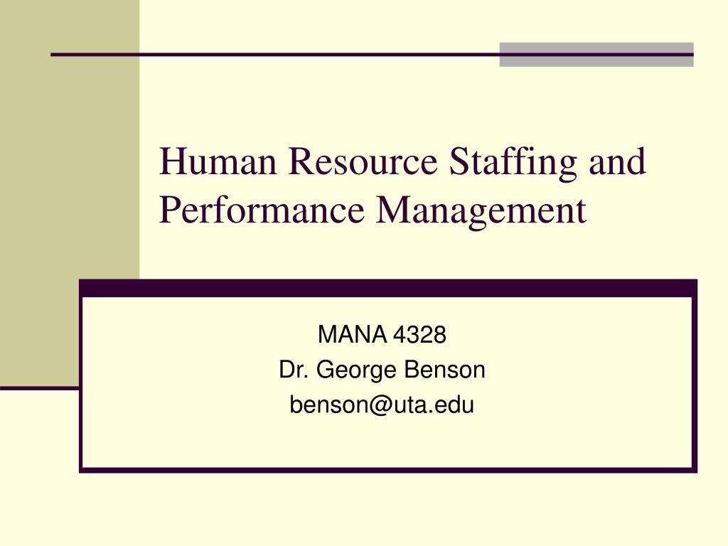 human resource staffing and performance management l.