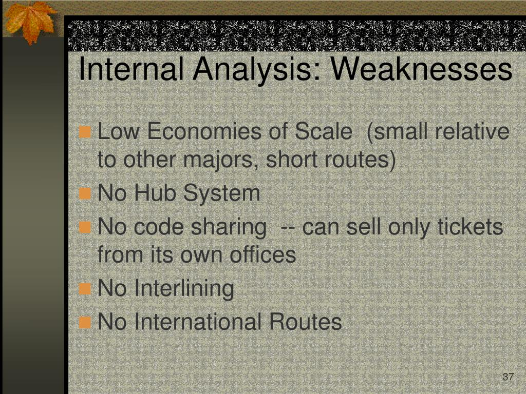 Internal Analysis: Weaknesses
