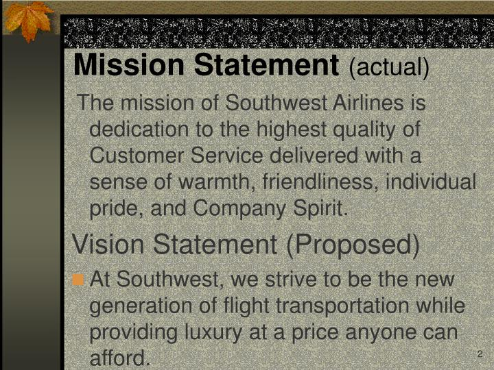 Mission statement actual