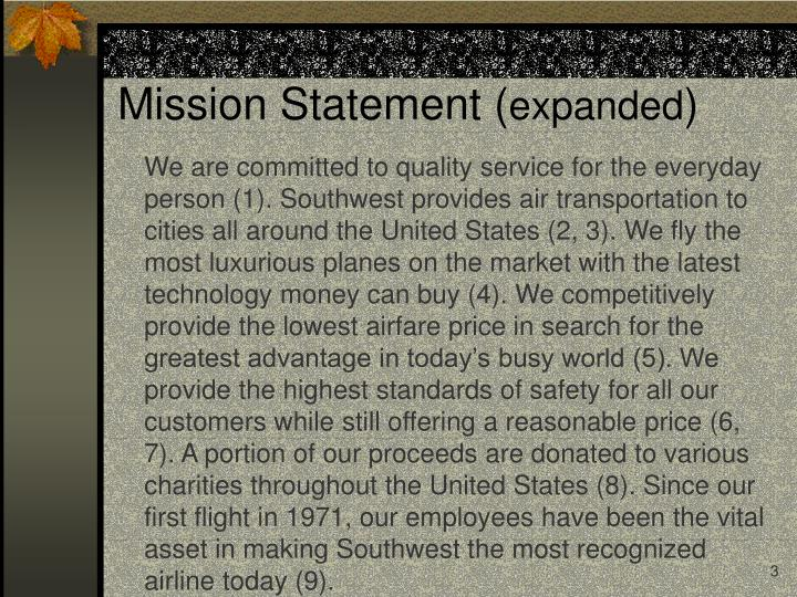 Mission statement expanded
