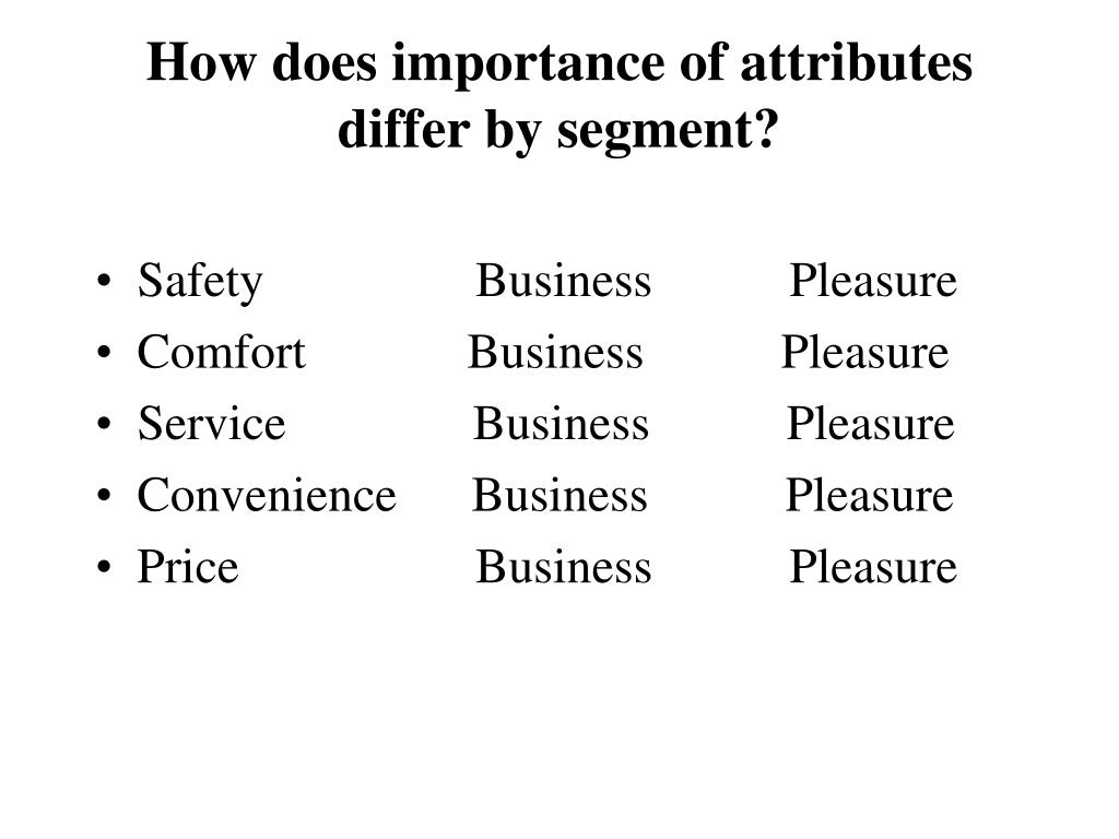 How does importance of attributes differ by segment?