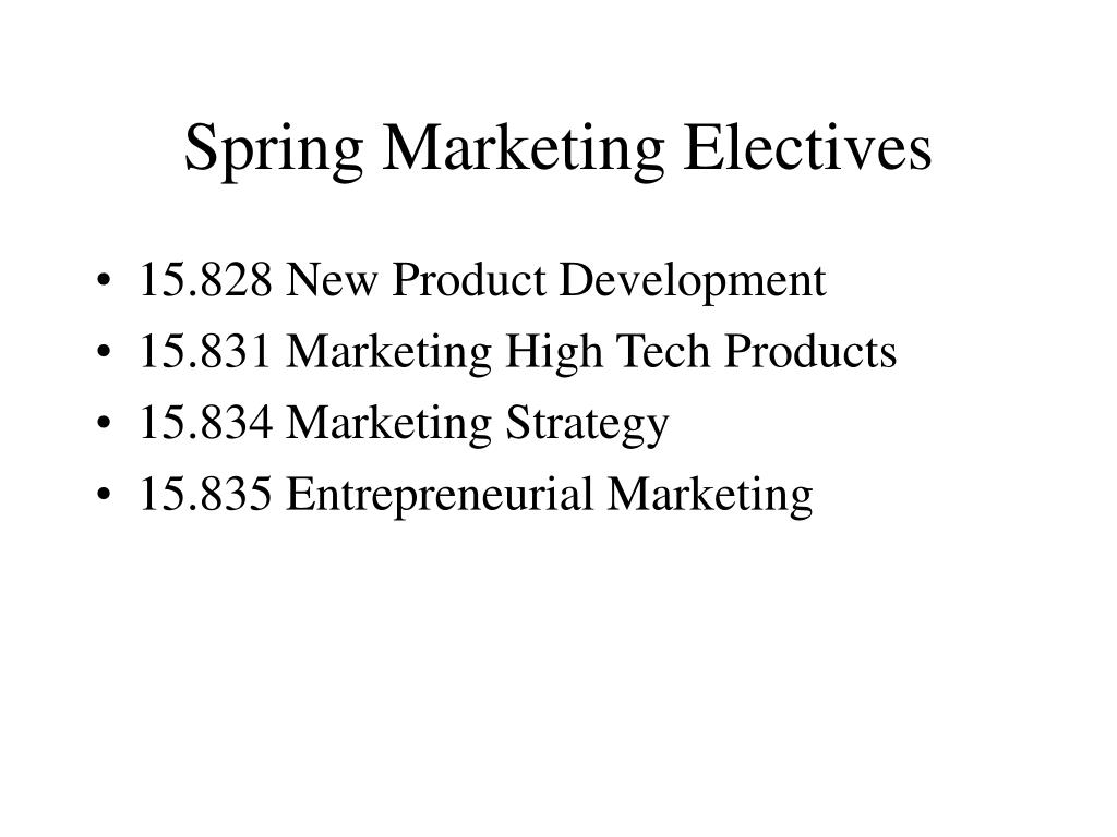 spring marketing electives l.