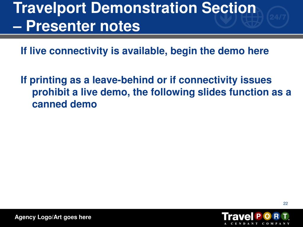 Travelport Demonstration Section – Presenter notes