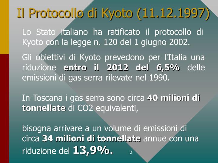 Il protocollo di kyoto 11 12 1997
