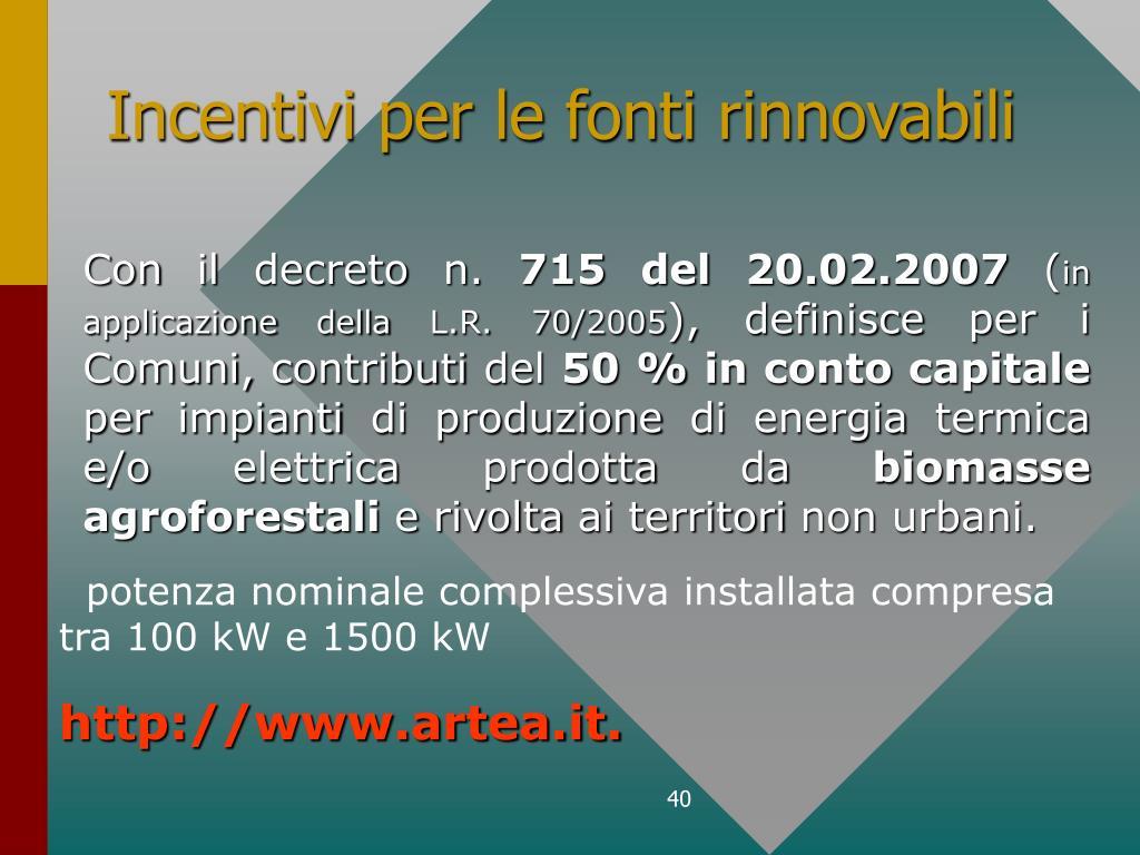 Incentivi per le fonti rinnovabili
