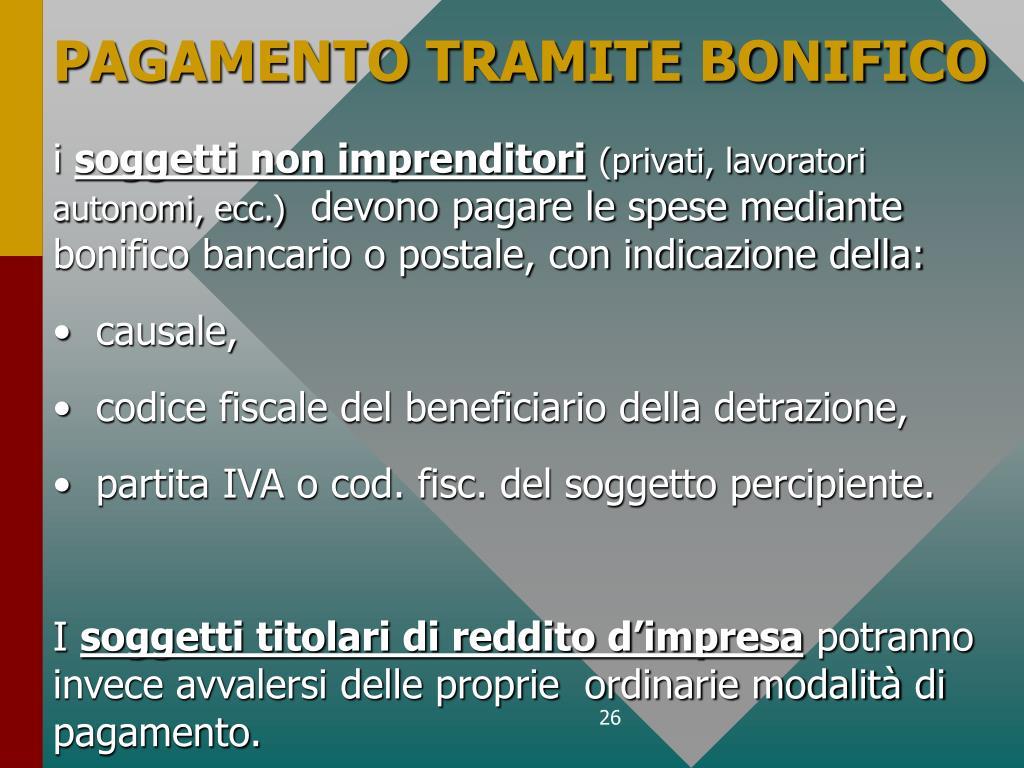 PAGAMENTO TRAMITE BONIFICO