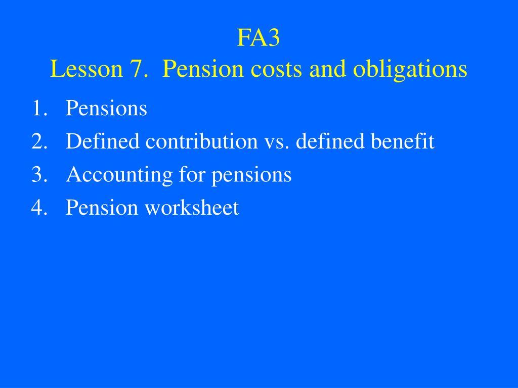 fa3 lesson 7 pension costs and obligations l.