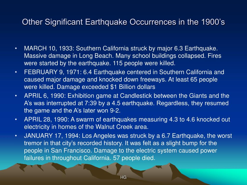 Other Significant Earthquake Occurrences in the 1900's